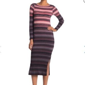French Connection Bintan Striped L/S Ribbed Dress